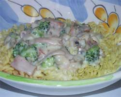 Wheat & gluten free Cheesey Broccoli Bacon pasta recipe