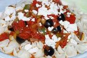 Wheat & gluten free Vegetable Sauce with Feta & Olives recipe